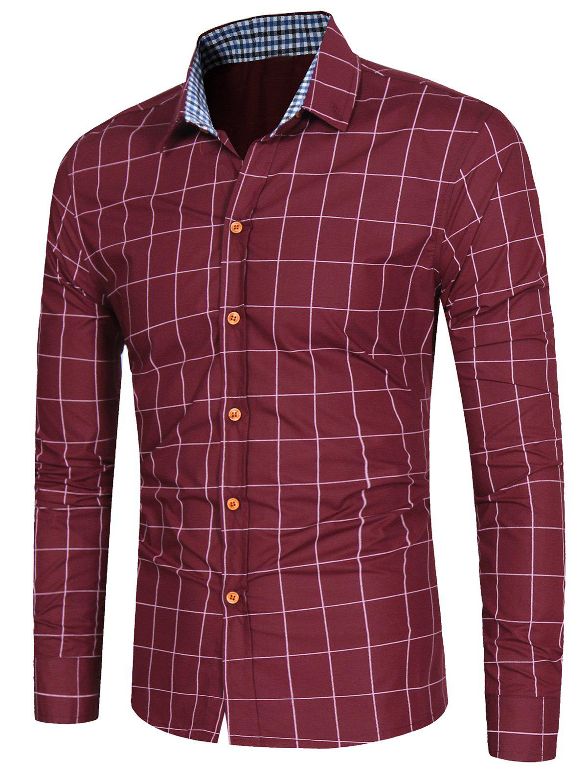 Casual Long Sleeve Grid ShirtMEN<br><br>Size: XL; Color: WINE RED; Shirts Type: Casual Shirts; Material: Cotton,Polyester; Sleeve Length: Full; Collar: Turndown Collar; Pattern Type: Checkered; Weight: 0.2500kg; Package Contents: 1 x Shirt;