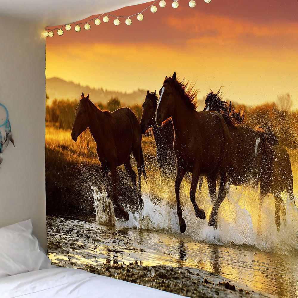 Galloping Horses Pattern Waterproof Wall Hanging TapestryHOME<br><br>Size: W79 INCH * L71 INCH; Color: DEEP BROWN; Style: Fashion; Theme: Animals; Material: Polyester; Feature: Removable,Washable,Waterproof; Shape/Pattern: Animal; Weight: 0.3900kg; Package Contents: 1 x Tapestry;
