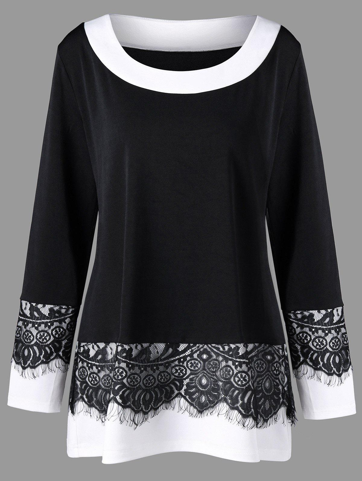 Plus Size Two Tone Eyelash Lace Panel TopWOMEN<br><br>Size: 4XL; Color: BLACK; Material: Polyester,Spandex; Shirt Length: Long; Sleeve Length: Full; Collar: Round Neck; Style: Fashion; Season: Fall,Spring; Embellishment: Lace; Pattern Type: Solid; Weight: 0.3500kg; Package Contents: 1 x Top;