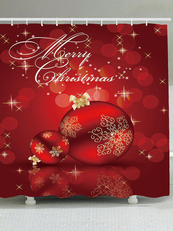 Waterproof Red Christmas Ball Printed Shower CurtainHOME<br><br>Size: W59 INCH * L71 INCH; Color: RED; Products Type: Shower Curtains; Materials: Polyester; Pattern: Ball; Style: Festival; Number of Hook Holes: W59 inch*L71 inch: 10; W65 inch*L71 inch: 12; W71 inch*L71 inch: 12; W71 inch*L79 inch: 12; Package Contents: 1 x Shower Curtain 1 x Hooks (Set);