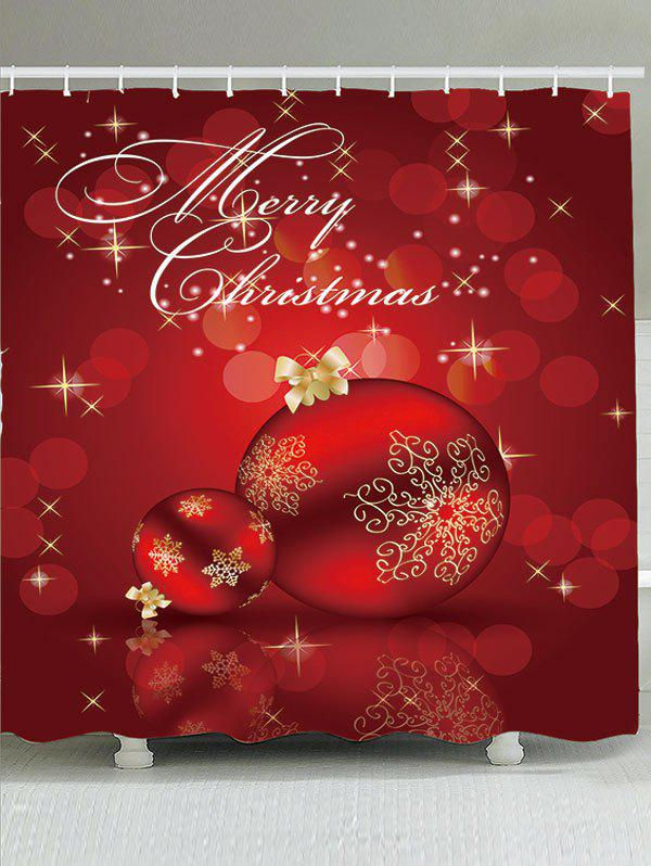Waterproof Red Christmas Ball Printed Shower CurtainHOME<br><br>Size: W71 INCH * L79 INCH; Color: RED; Products Type: Shower Curtains; Materials: Polyester; Pattern: Ball; Style: Festival; Number of Hook Holes: W59 inch*L71 inch: 10; W65 inch*L71 inch: 12; W71 inch*L71 inch: 12; W71 inch*L79 inch: 12; Package Contents: 1 x Shower Curtain 1 x Hooks (Set);
