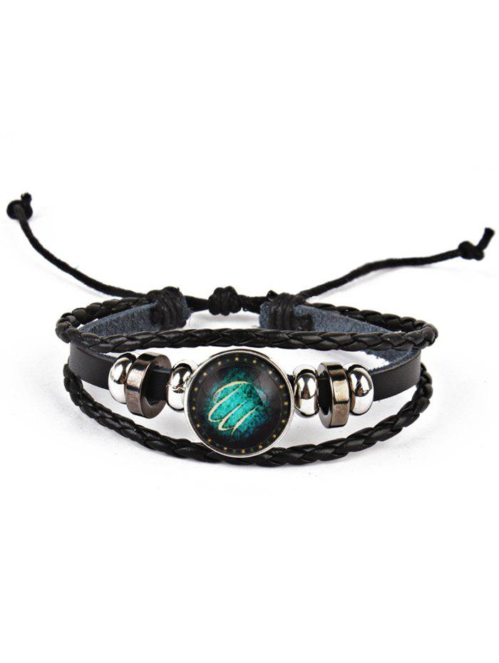Twelve Constellations Vintage Braid Rope Bolo BraceletJEWELRY<br><br>Color: VIRGO; Gender: For Men; Chain Type: Leather Chain; Style: Trendy; Shape/Pattern: Round; Length: Adjustable; Weight: 0.0220kg; Package Contents: 1 x Bracelet;