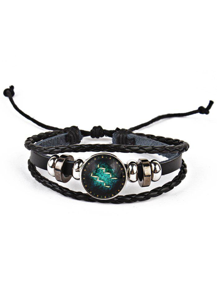 Twelve Constellations Vintage Braid Rope Bolo BraceletJEWELRY<br><br>Color: AQUARIUS; Gender: For Men; Chain Type: Leather Chain; Style: Trendy; Shape/Pattern: Round; Length: Adjustable; Weight: 0.0220kg; Package Contents: 1 x Bracelet;