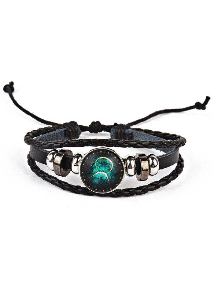 Twelve Constellations Vintage Braid Rope Bolo BraceletJEWELRY<br><br>Color: TAURUS; Gender: For Men; Chain Type: Leather Chain; Style: Trendy; Shape/Pattern: Round; Length: Adjustable; Weight: 0.0220kg; Package Contents: 1 x Bracelet;