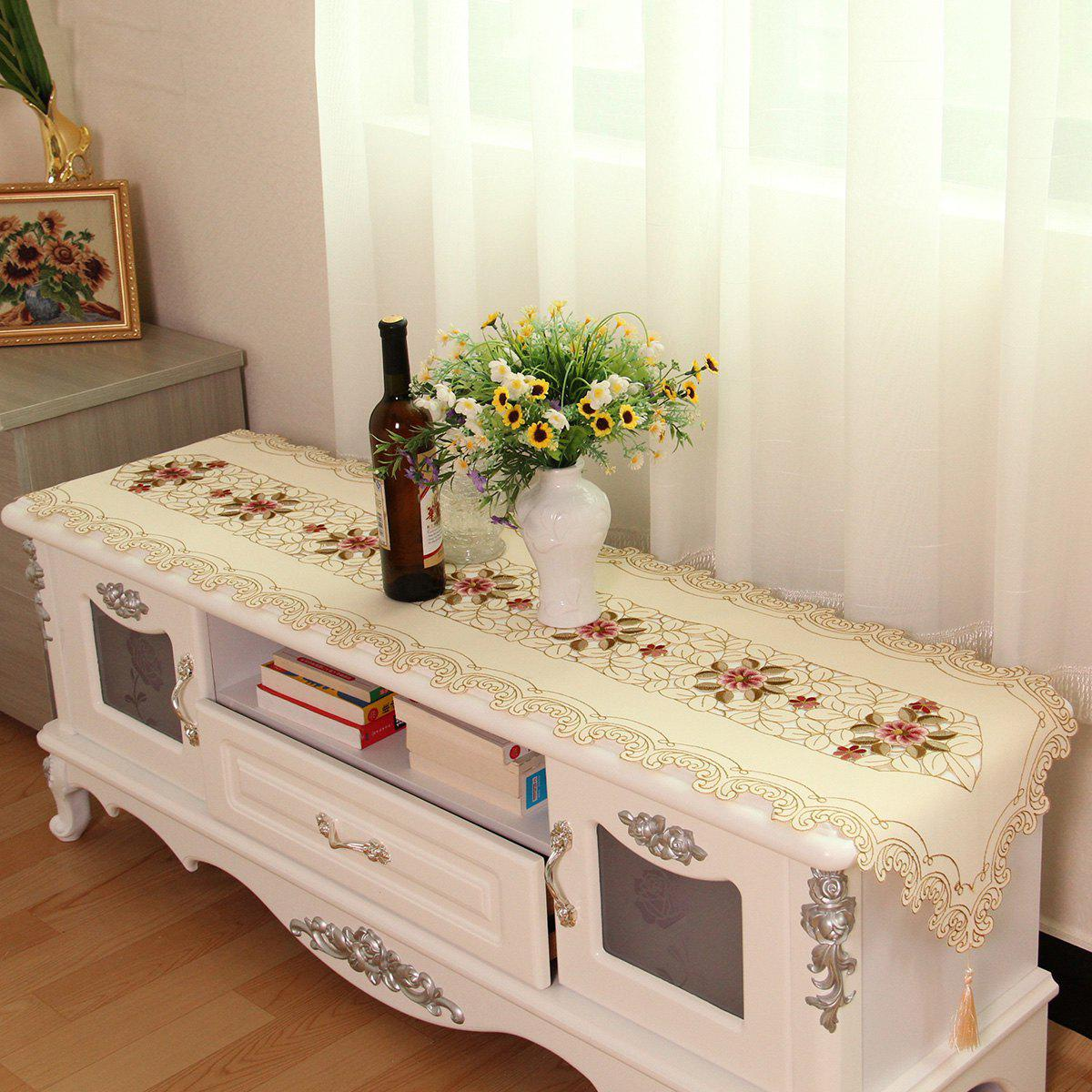 Affordable Home Decor Satin Embroidered Table Runner