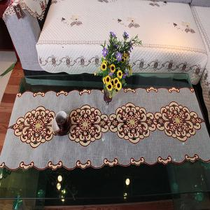 Embroidered Slubby Yarn Home Decor Table Runner -