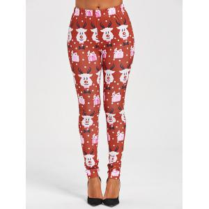 Cartoon Print Christmas Leggings -