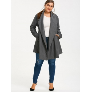Asymmetrical Plus Size Belted Skirted Coat -