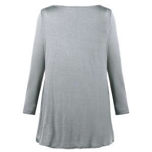 Cut Out Plus Size Heart Print Tunic Top -