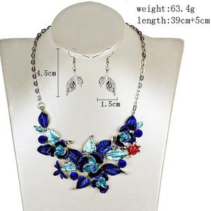 Vintage Rhinestone Leaf Flower Jewelry Set -