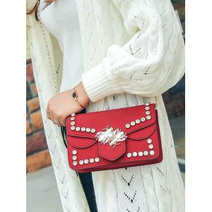 Insect Faux Pearl Rhinestone Crossbody Bag -