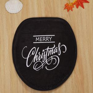 Christmas Letter Print Coral Fleece 3Pcs Bath Toilet Mats Set -