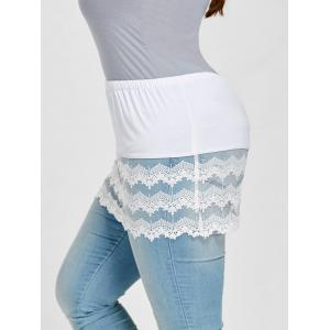Plus Size Transparent Lace Trim Extender Mini Skirt -
