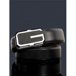 Vintage Metal Buckle Faux Leather Automatic Buckle Wide Belt -