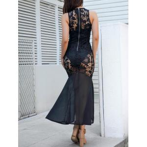 Sheer Lace Sleeveless Bodycon Maxi Dress -