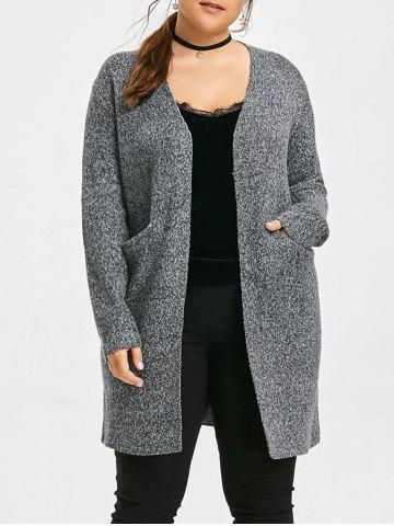 Discount Knit Patterned Rooo Plus Size Long Cardigan