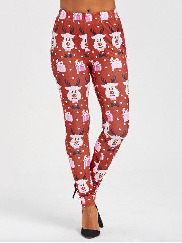 Buy Cartoon Print Christmas Leggings
