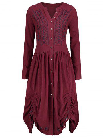 Shops Plus Size Button Up  Peasant Embroidered Tunic Top