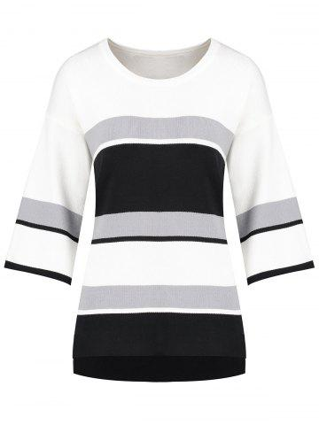 Hot Plus Size Slit High Low Striped Sweater