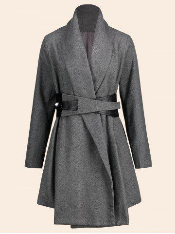 Shop Asymmetrical Plus Size Belted Skirted Coat