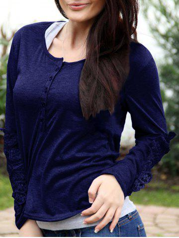 Store Casual Scoop Neck Lace Splicing Long Sleeve T-Shirt For Women