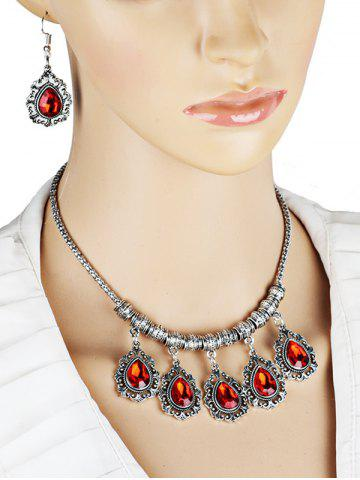 Discount Vintage Water Drop Shape Artifical Gem Necklace Earrings Set