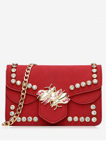 Shops Insect Faux Pearl Rhinestone Crossbody Bag