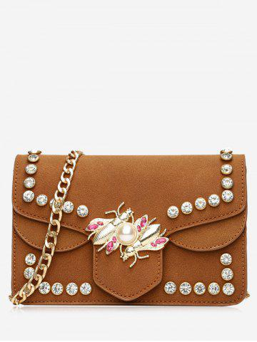 Fashion Insect Faux Pearl Rhinestone Crossbody Bag