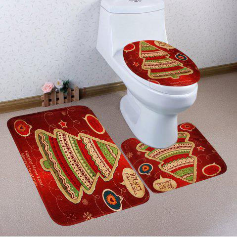 Online 3Pcs Christmas Tree Printed Coral Fleece Bath Toilet Rugs Set