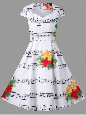 Hot Christmas Music Note and Bell Print Dress