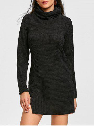 Discount Turtleneck Raglan Sleeve Mini Dress
