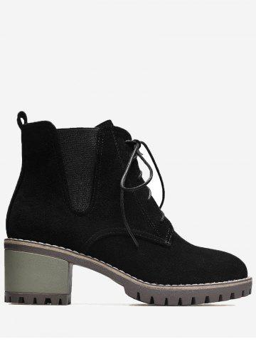 Unique Chunky Heel Elastic Band Short Boots