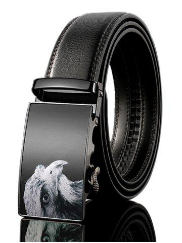 Chic Vintage 3D Eagle Embellished PU Leather Automatic Buckle Wide Belt