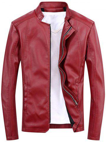 Stand Collar Full Zip Faux Leather Jacket