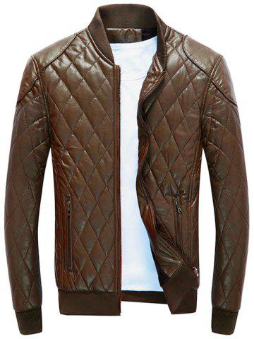 Casual Diamond Faux Leather Bomber Jacket