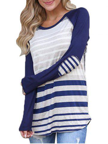Raglan Sleeve Stripe T-shirt with Elbow Patches
