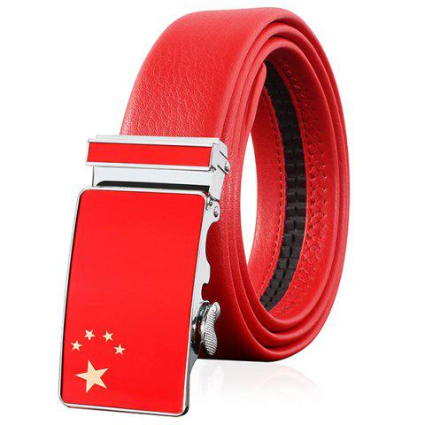 New Flag of China Embellished Automatic Buckle Faux Leather Wide Belt