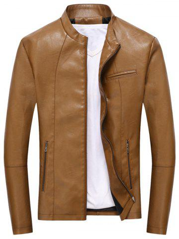 Casual Full Zip PU Leather Jacket