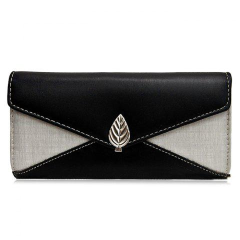 Fashion Metal Leaf Contrasting Color  Wallet With Chain