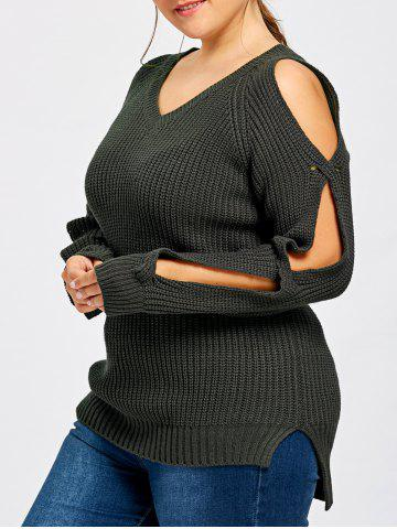 Outfit Plus Size Split Sleeve V Neck Sweater
