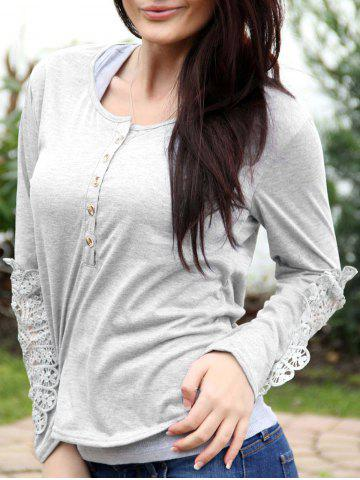 Casual Scoop Neck Lace Splicing Long Sleeve T-Shirt For Women - WHITE - S