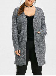 Knit Patterned Rooo Plus Size Long Cardigan -