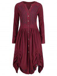 Plus Size Button Up  Peasant Embroidered Tunic Top -