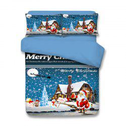Snowy Christmas Santa Print 3PCS Bedding Set -