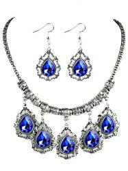Vintage Water Drop Shape Artifical Gem Necklace Earrings Set -
