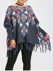 Geometric Print Fringe Plus Size Cape Sweater -