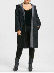 Long Plus Size Hooded Demin Coat - BLACK ONE SIZE