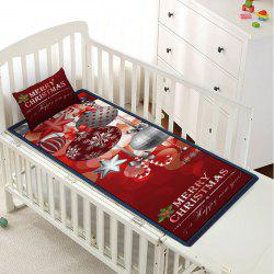 Christmas Ball Letter Print Children Bed Matting with Pillowcase -