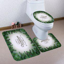 Christmas Letter Print Coral Fleece 3Pcs Bath Toilet Rugs Set -