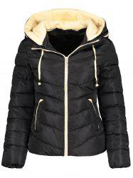 Hooded Drawstring Padded Quilted Jacket - BLACK M
